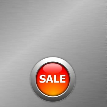 red sale button on a metal background