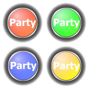 party fun button collection isolated on white background