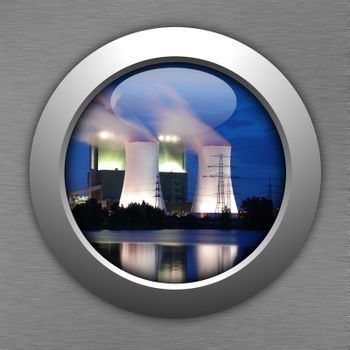 industry button showing pollution or industrial production concept