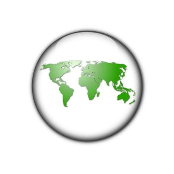 globe or world map in a button illustration