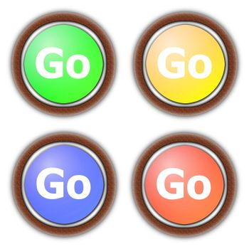 go or start button collection isolated on white