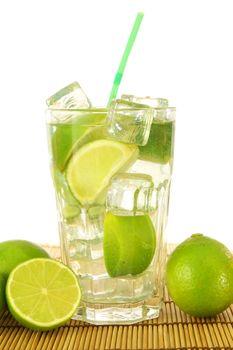 mojito or Caipirinha cocktail drink with lemon