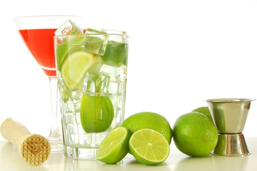 cocktails on a party with alcohol lime and copyspace