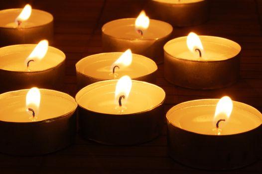 romantic candles showing wellness or zen concept