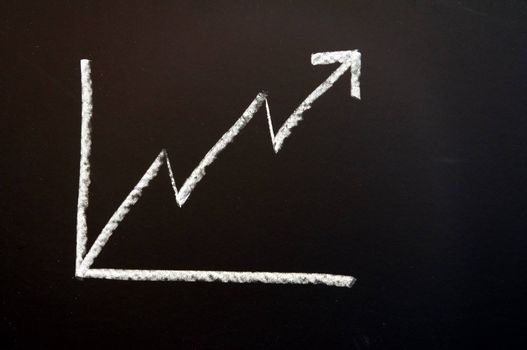 business chart on chalkboard showing success and growth