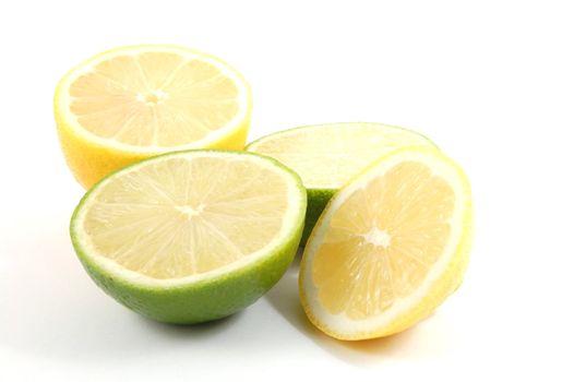 fresh lemon , orange , and citron fruits isolated on a white background