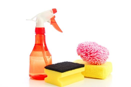 isolated cleaning supplies for clean and hygienic household