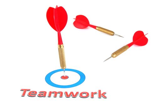 teamwork concept with isolated dart arrow on white background