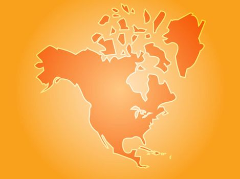 Map of the North American continent, USA Canada Mexico