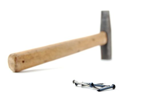 hammer and nails isolated on white background