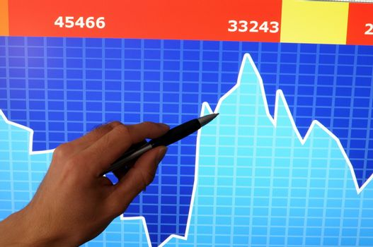 financial stock market concept with hand and computer lcd display