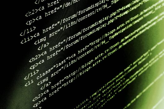 computer html code showing concept of internet and software programming