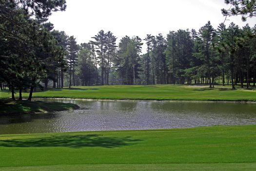 Par three golf hole going over water