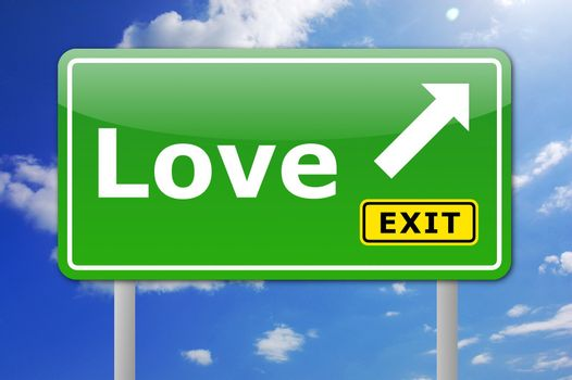 love concept illustration with with road sign