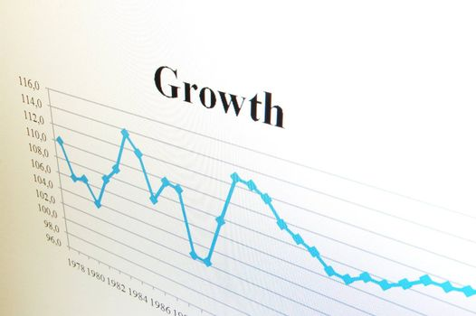 business chart and data from stock market showing success