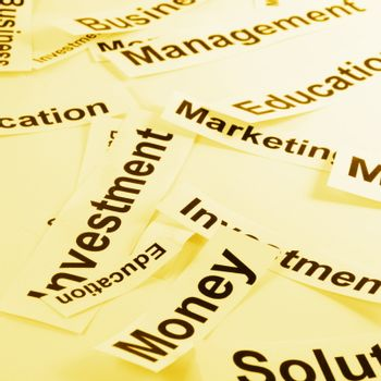 concept for management of a new business with paper and words