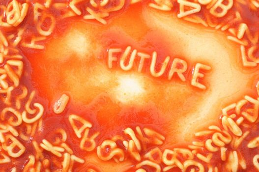 future forecast concept with red past alphabet