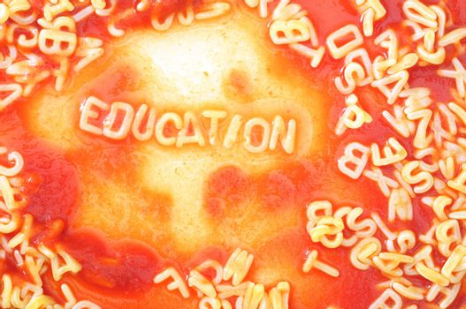 school education concept with red pasta alphabet