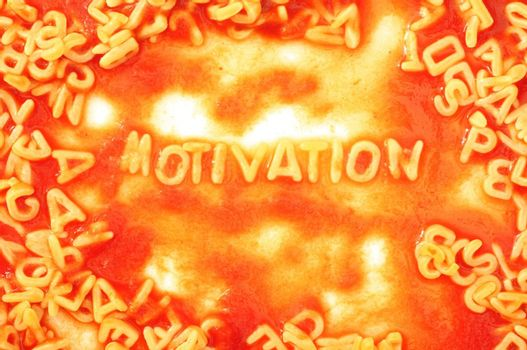 motivate or motivation business concept with red tomata pasta snack