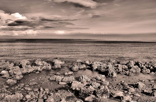 Landscape of beach with stone in sepia tone