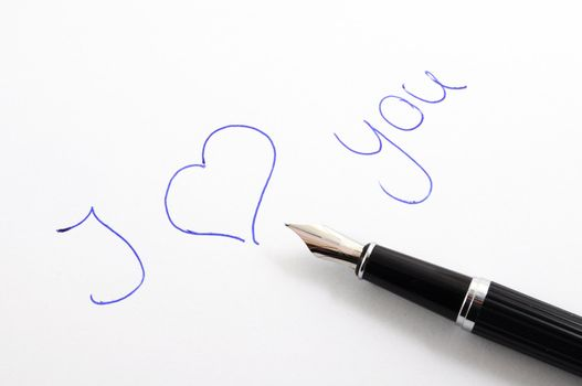 i love you message on paper with pan