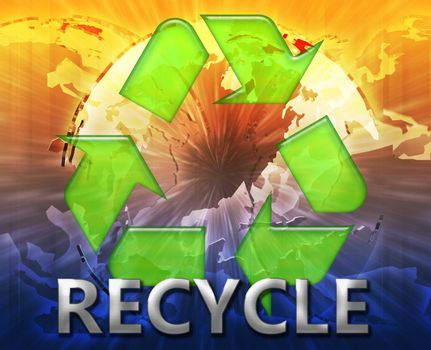 Global recycling eco symbol background concept collage illustration