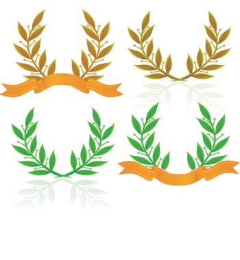 Laurel wreath with ribbon. Vector set on white background