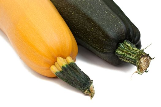 Vegetable marrow and pumpkin isolated on white