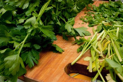 Cutted parsley on a board