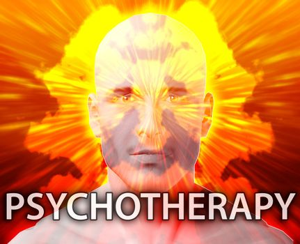 Male psychotherapy treatment mental health rorschach inkblot concept
