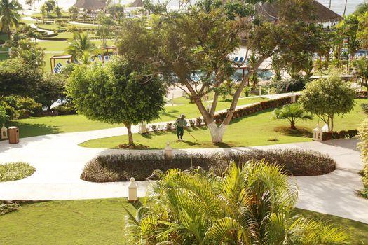 Beautiful backyard landscape, abstract travel background