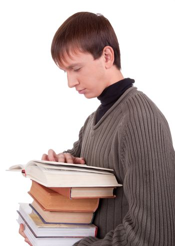 young student with books  on white background