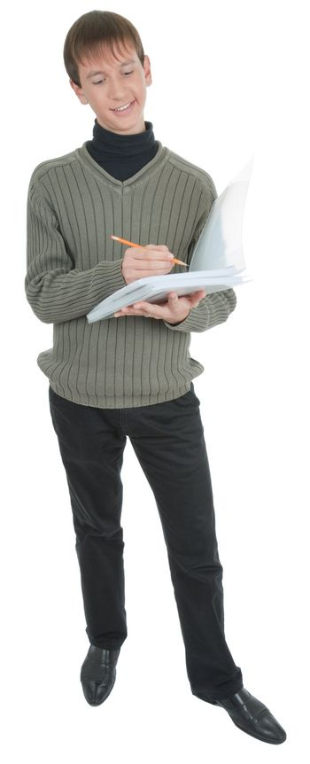 young student with folders  on white background