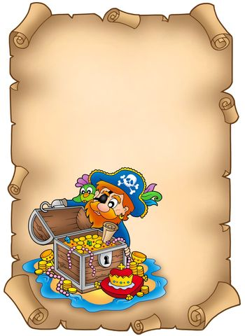 Parchment with pirate and treasure