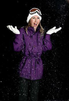Female in parka - Snowy Night
