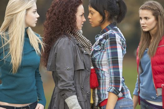 Group Of Confrontational Teenager Girls