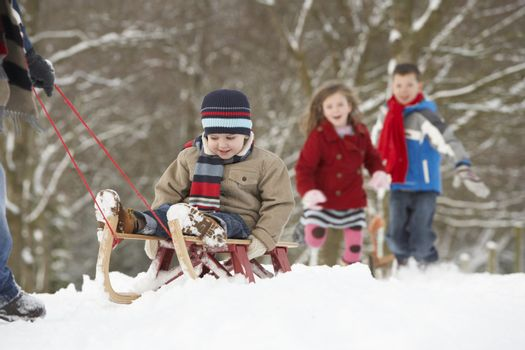 Father Pulling Children On Sledge Through Winter Landscape