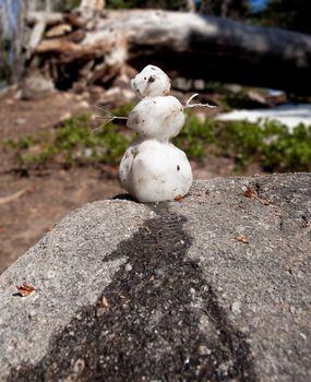 Humorous snowman melting