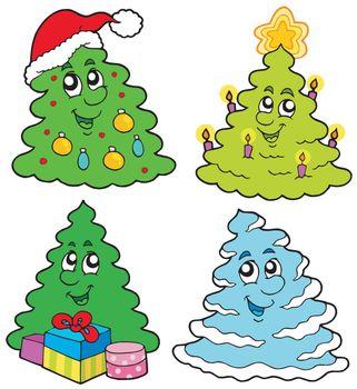 Various cartoon Christmas trees
