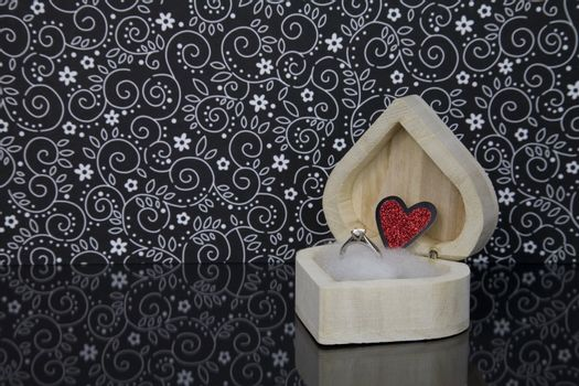 Diamond Engagement Ring in a heart Shaped wooden box