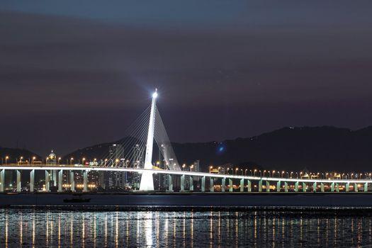Kong sham highway bridge at night