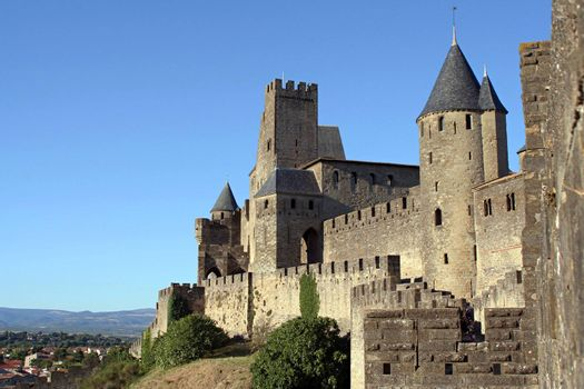 View at Carcassonne castle and surroundings in a sunny summer day with a clear blue sky