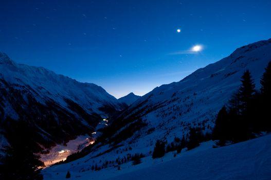 Remote alp valley at night