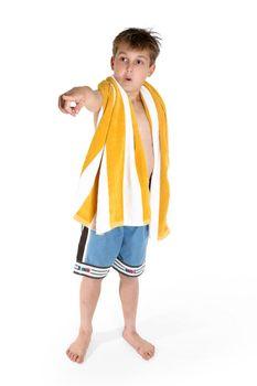 Beach boy pointing