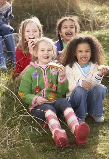 Group Of Girls Eating Cream Cakes In Field Together