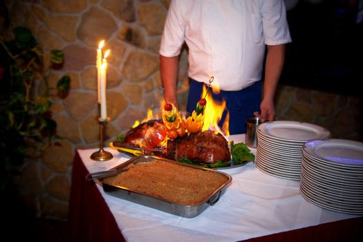 Roasted meat served in the restaurant at the party