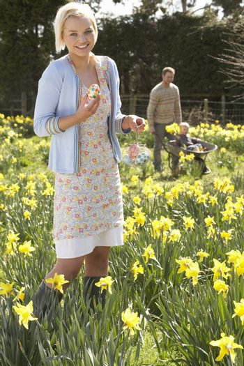 Woman Hiding Decorated Easter Eggs For Hunt Amongst Daffodils