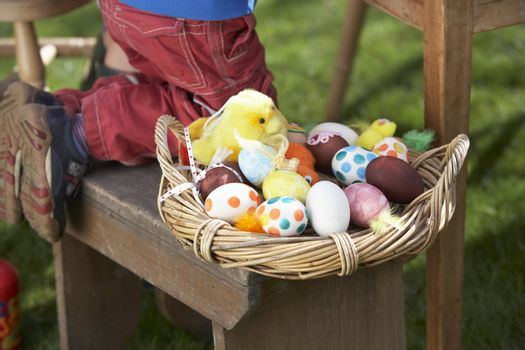 Basket Of Decorated Easter Eggs In basket
