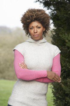Portrait Of Beautiful Woman In Garden
