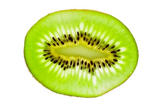 Vibrant slice of kiwi fruit